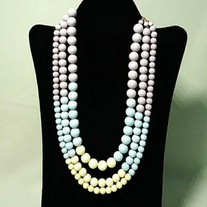 3 Strand Beaded Necklace Pastel
